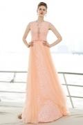 Chic Orange A-Linie Bodenlang Ärmellos Abendkleider aus Tüll