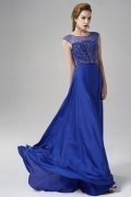 Bateau Beading Sleeveless Chiffon Blue Evening Dress