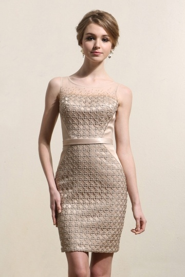 Dressesmall Bateau Sheer Lace Sheath Champagne Cocktail Dress