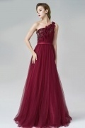 One Shoulder Ruching A-line Tulle Red Evening Dress