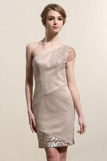 Dressesmall Elegant One Shoulder Sheath Champagne Short Prom Dress