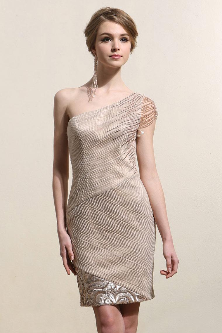 Elegant One Shoulder Sheath Champagne Short Prom Dress ...