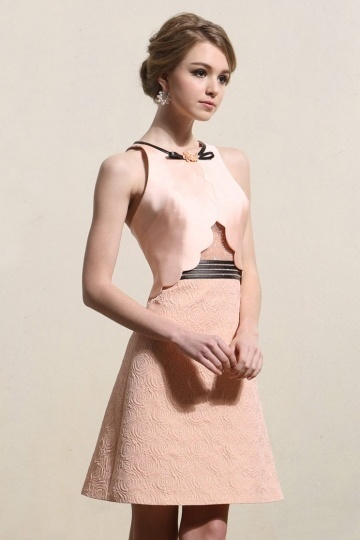 2016 A-Linie rosa Kurz Satin Abendkleider mit Perlen verziert Persun