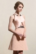 Chic Jewel Satin Sleeveless A-line Pink Cocktail Dress