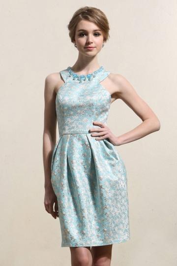 Elegant blau Brokat A-Linie Kurz Abendkleider Persunshop