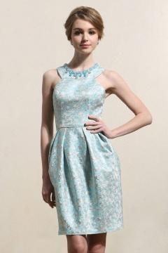 Elegant blau Brokat A-Linie Kurz Abendkleider
