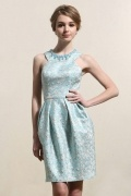 Jewel Sleeveless Satin Beading Short Blue Prom Dress