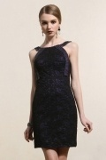 Bateau Sheath Beading Short Black Cocktail Dress