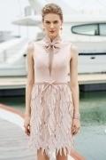 Chic rosa A-Linie Stehkragen Ärmellos Kurz Abendkleider aus Satin