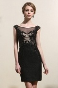 Sheath Cap Sleeves Lace Black Cocktail Gown