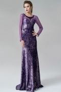 Elegant Long Sleeves Velvet Sheer Purple Evening Dress