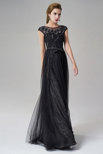 Dressesmall A-line Bateau Short Sleeves Tulle Long Black Evening Dress