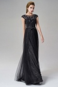 A-line Bateau Short Sleeves Tulle Long Black Evening Dress