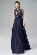 Scoop Sleeveless A-line Chiffon Long Blue Evening Dress