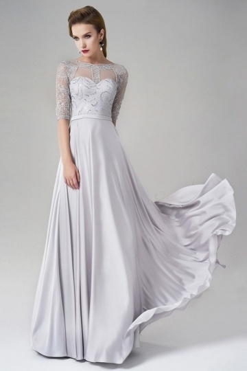 Dressesmall Silk Like Satin Half Sleeves A-line Long Gray Evening Dress