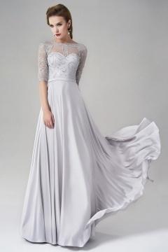 2016 Modern Lang A-Linie Silk like Satin Abendkleid mit Ärmeln