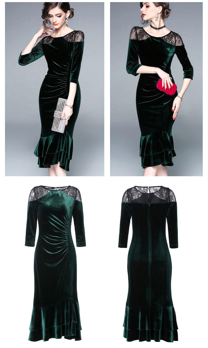 Dark green Velvet Lace cocktail dress