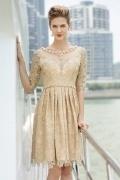 Champagner A-Linie Kurz Rund-Ausschnitt Abendkleid mit Ärmeln