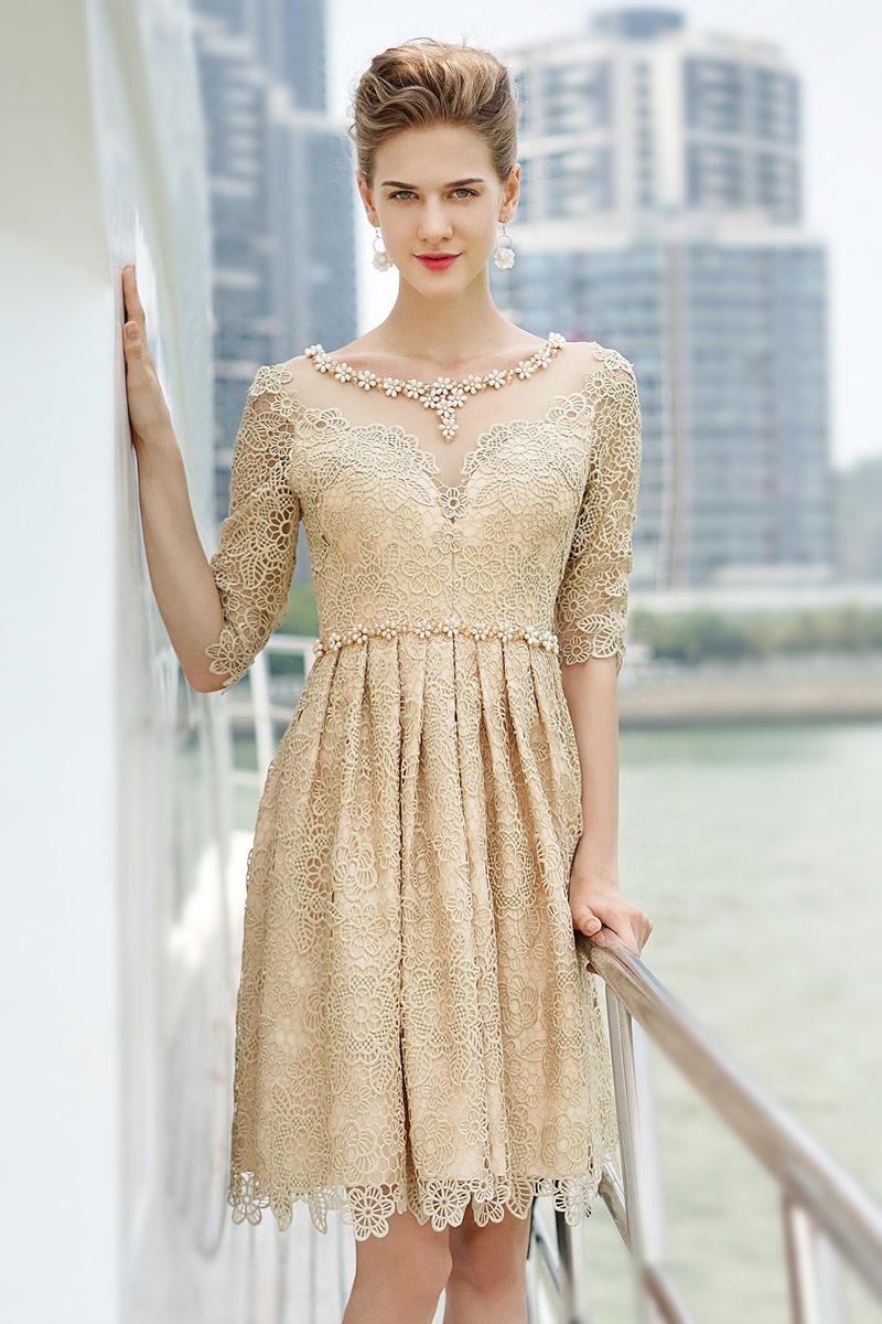 Champagner A-Linie Kurz Rund-Ausschnitt halb lange Ärmel spitze Abendkleid