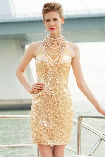 Extravagant Gold Kurz Etui-Linie Stehkragen Abendkleid aus Sequins Persunshop