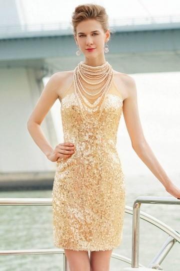 Sexy Gold Kurz Etui-Linie Sequins Cocktailkleid 2016 Persun
