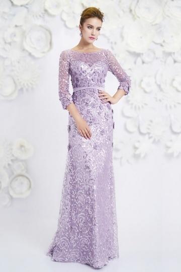Dressesmall Bateau A-line sleeved Sequin Purple Evening Dress