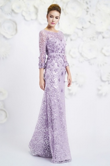 Dressesmall Bateau A-line sleeved Sequin Purple Evening Dress