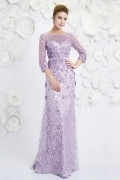 Bateau A-line sleeved Sequin Purple Evening Dress