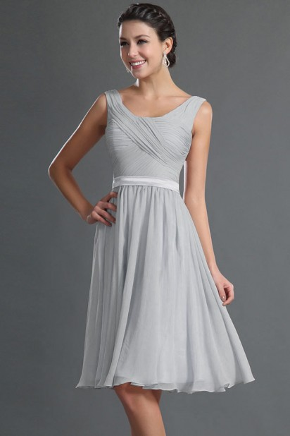 51fd03d25a Simple Sleeveless Chiffon A line Knee Length Bridesmaid Dress ...