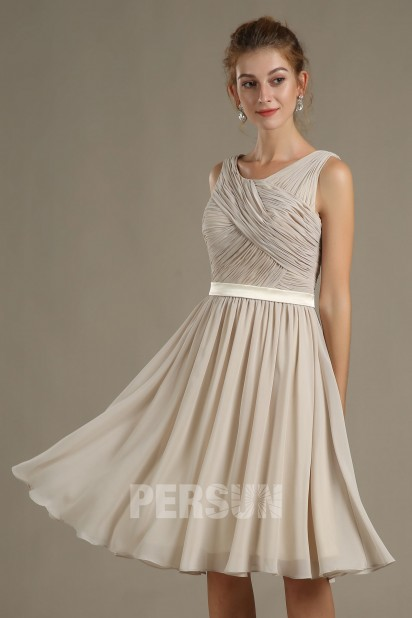 Dressesmall Simple Sleeveless Chiffon A-line Knee Length Formal Bridesmaid Dress