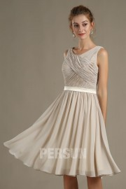 Simple Sleeveless Chiffon A-line Knee Length Formal Bridesmaid Dress