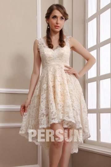 Dressesmall Vintage High Low V Neck Lace Short Formal Dress