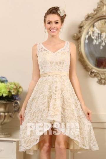 Lace Ivory Asymmetrical V Neck Wedding Dress