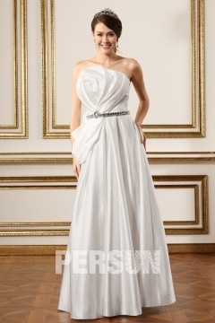Satin Strapless Ivory Floor Length Outdoor Wedding Dress