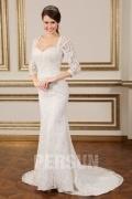 2016 Chic Spitze Ivory Etui-Linie Rückenfrei Brautkleid mit Ärmeln