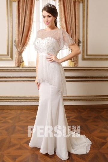 Chiffon Sweep/Brush Train Bateau Mermaid Ivory Wedding Dress