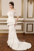 Vintage Court Train Lace Mermaid Bridal Dress With Sleeves