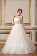 Strapless A Line Floor Length Beading Tulle Ball Gown Bridal Dress