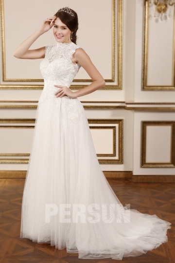 High Neck Court Train A Line Backless Lace Wedding Gown