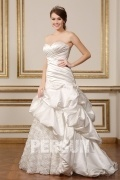 Unique Sweetheart Floor Length Strapless Satin Bridal Dress