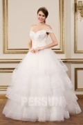 Modern Appliques/Beading Ball Gown Off The Shoulder Wedding Dress