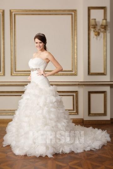 Luxus Sweetheart Tiefe Taille Ivory Organza Brautkleider Persun