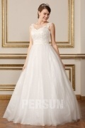A Line Appliques & Beading Princess Wedding Gown