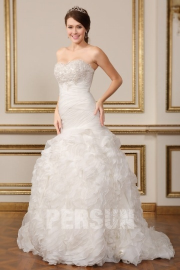 Sweetheart Mermaid Ruching & Beading Tulle Wedding Dress Online