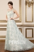 A Line Flower & Sash Lace Wedding Dresses With Cap Sleeves