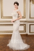 Bateau Backless Mermaid Lace Wedding Gown With Cap Sleeves
