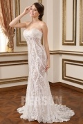 Sequins & Lace Sweetheart A Line Strapless Sexy Bridal Dress