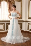 Sweetheart A Line Buttons Strapless Lace Wedding Dress