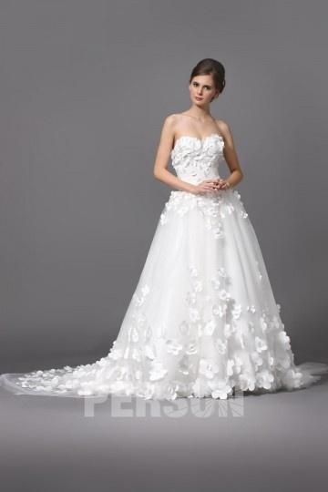 Elegant Herz-Ausschnitt A-Linie Rückenfrei Brautkleider aus Tüll Persun