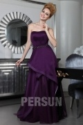Chic Ruching Purple Evening Dress Persun